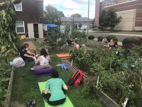 Yoga in the Sustainability Garden connects students in nature