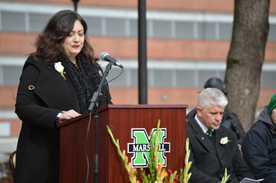 Keynote speaker, Leslie Garvis, daughter of Danny Deese, DC-9 Charter Coordinator, speaking to the crowd during the 48th Annual Memorial Service.