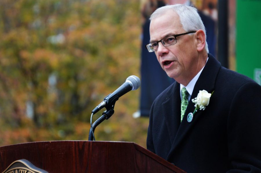 President Jerry Gilbert addressing the crowd during the Fountain Ceremony in 2017.