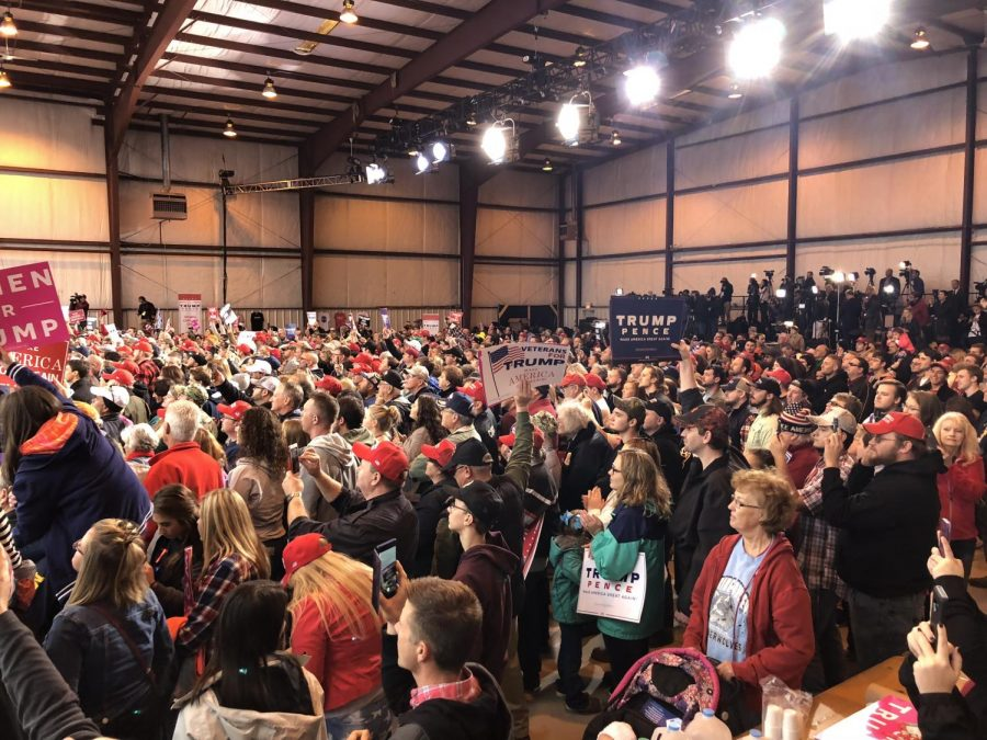 Trump+supporters+rallied+for+the+president%2C+Friday%2C+Nov.+2+at+Huntington+Tri-+State+Airport%E2%80%99s+Hangar+3%2C+where+he+discussed+issues+like+the+economy%2C+immigration+and+the+upcoming+mid-term+elections.
