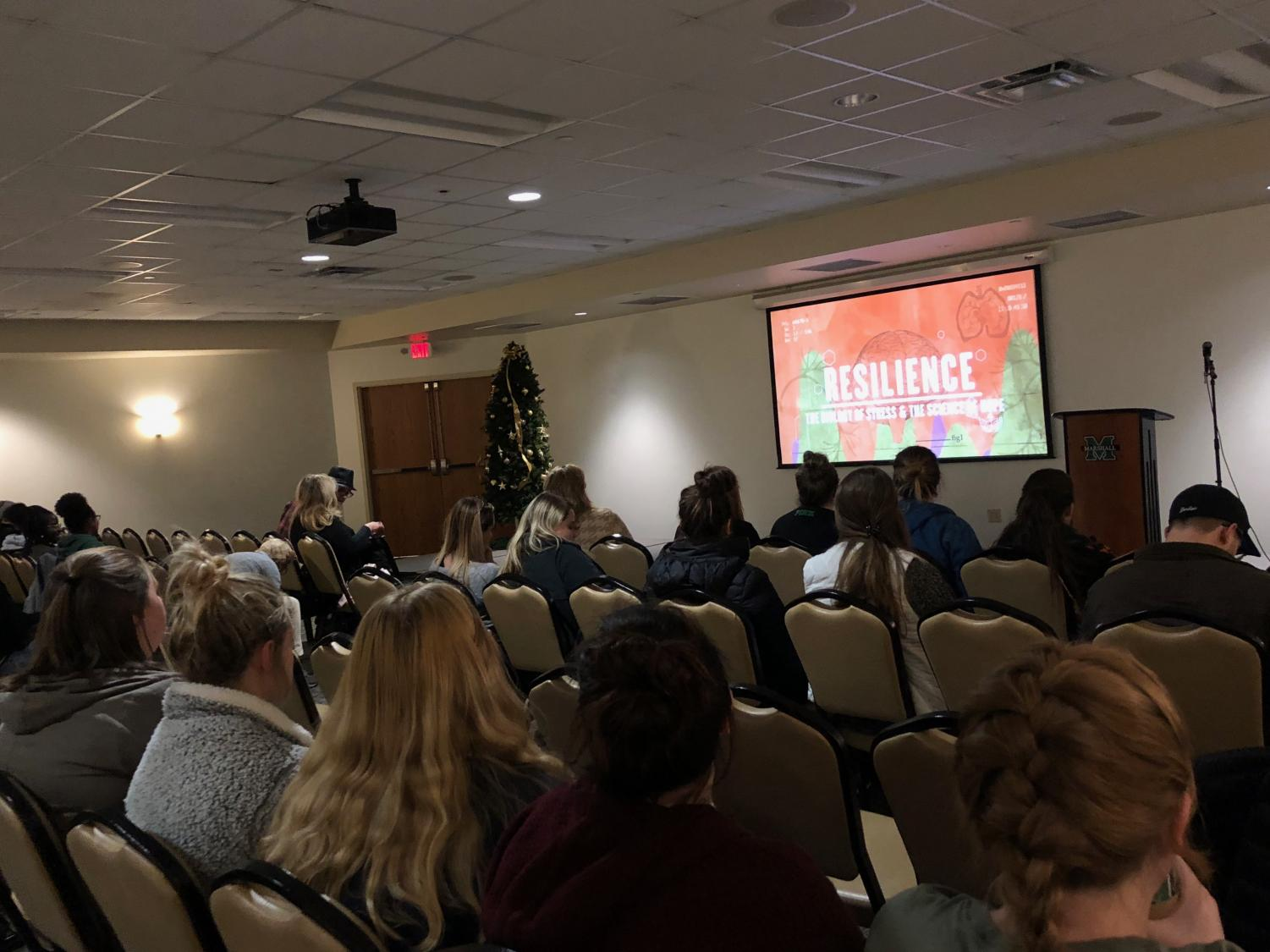 Marshall University students and local community members and social workers watched the documentary Resilience and discussed the causes and impacts of toxic stress and adverse childhood experiences, Tuesday, in the Memorial Student Center.