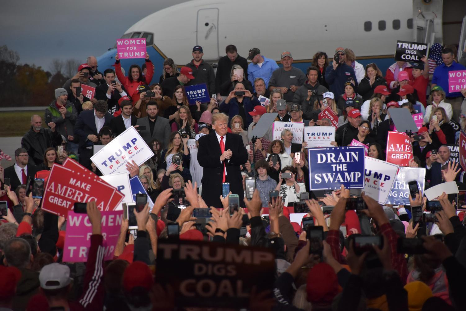 President Donald Trump addresses the crowd on Friday, Nov. 2, at the Huntington Tri-State Airport.