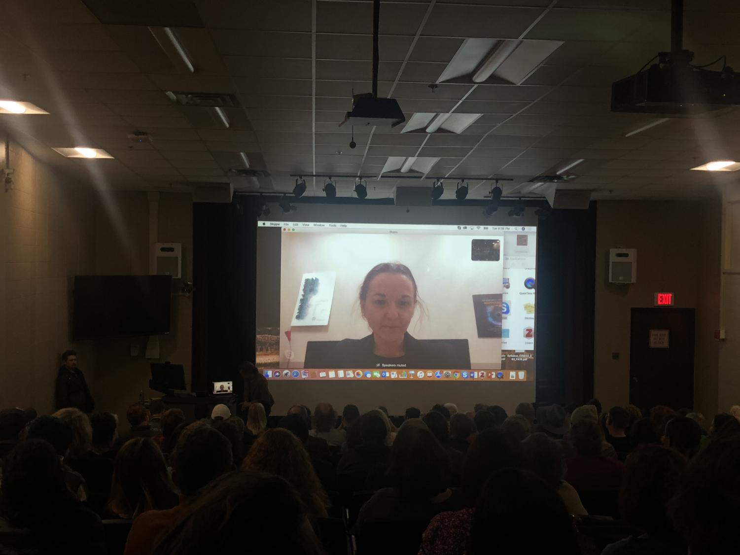 Director of 'Hillbilly' video chatting viewers on campus.