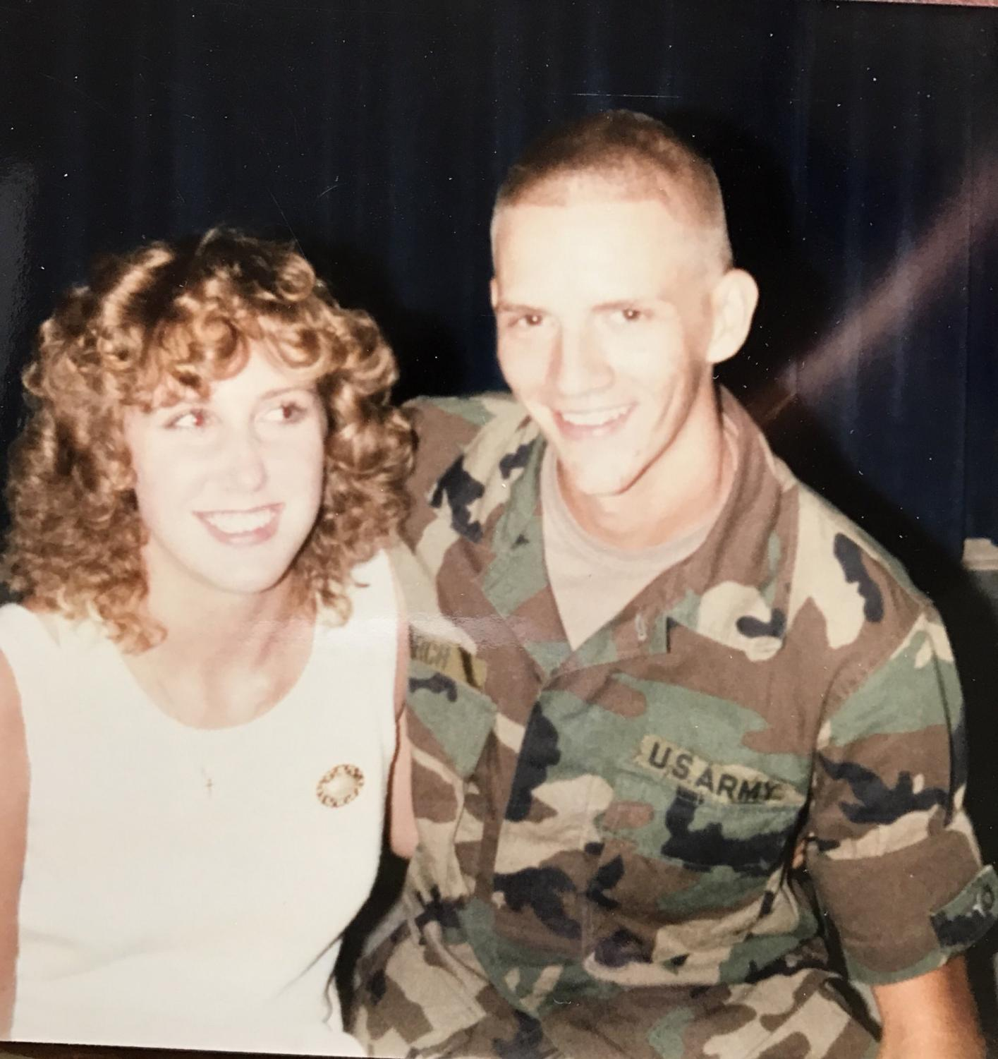 Amanda Larch's mother and father, Sandy and Biff Larch, shortly after they married in 1986. Her father served in the Army and was stationed in Germany.