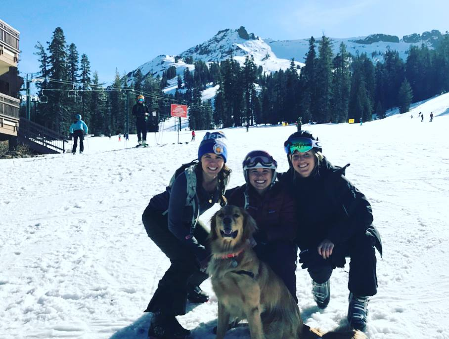 Isabelle Rogner poses with friends and her dog, Charlie, while skiing in California. Rogner is an alumna from Marshall University who now works at Intuit in Mountain View, California.