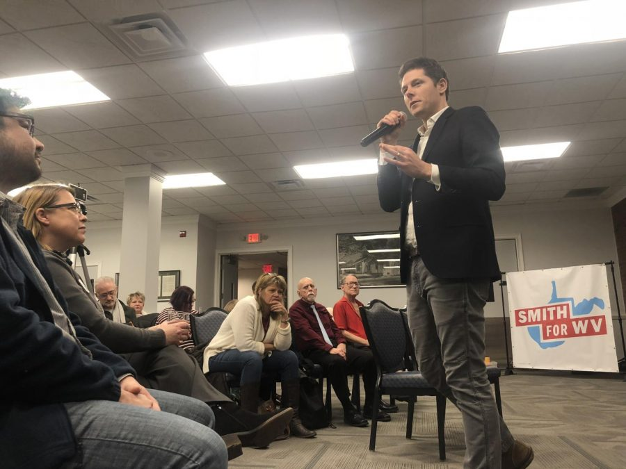 West+Virginia+gubernatorial+candidate+and+former+anti-poverty+community+organizer%2C+Stephen+Smith%2C+addresses+constituents+at+a+recent+town+hall+event+in+Marshall%27s+Memorial+Student+Center.
