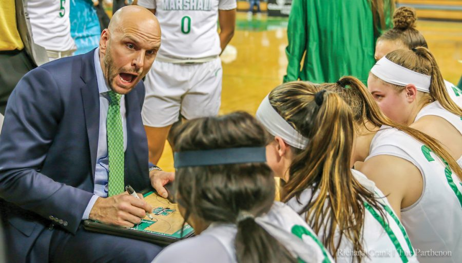 Head coach Tony Kemper instructs his team during a timeout in Marshall's triple overtime win over Louisiana Tech on Jan. 24, 2019.