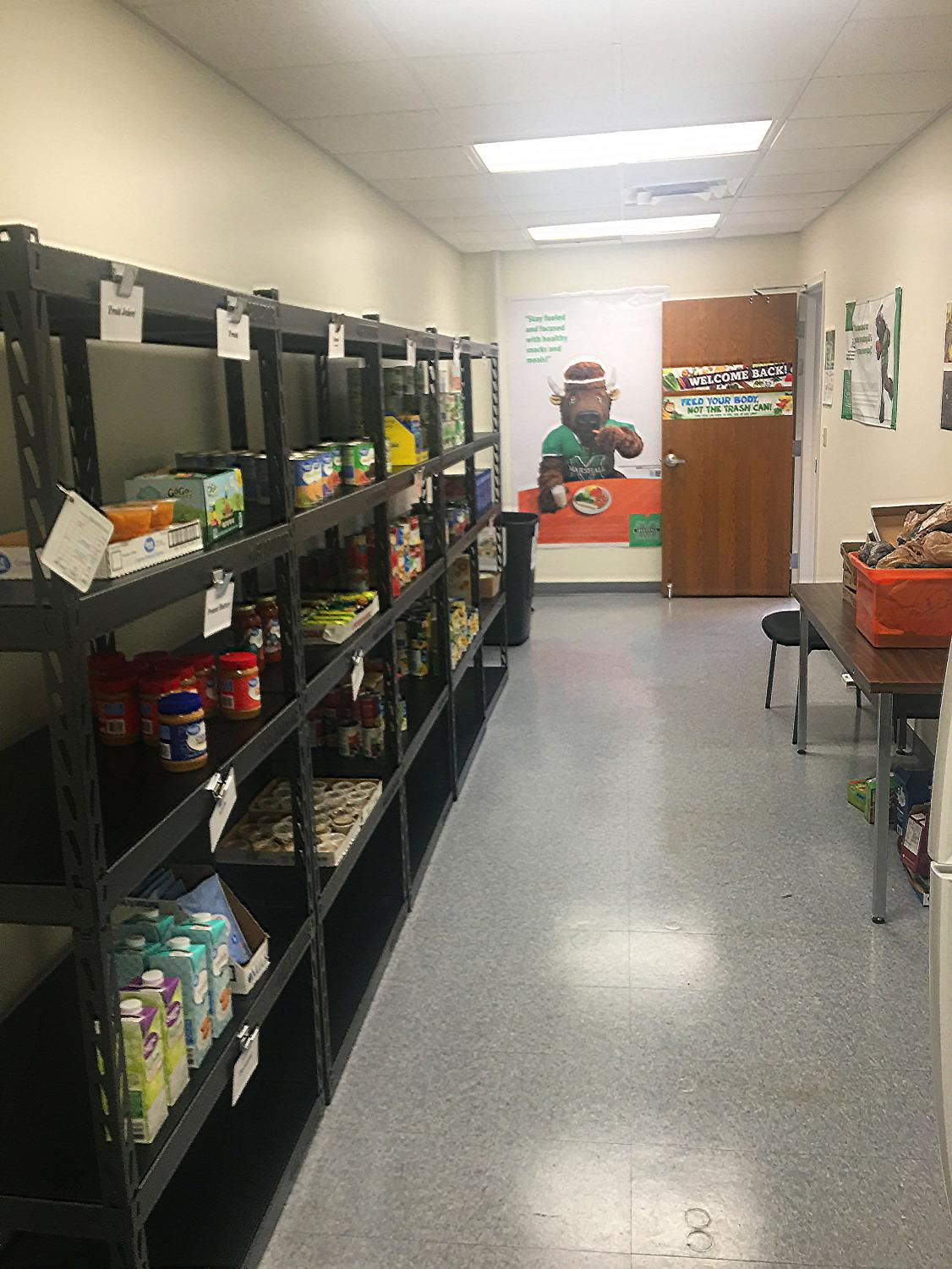 The food pantry provides community members in need with non-perishables.