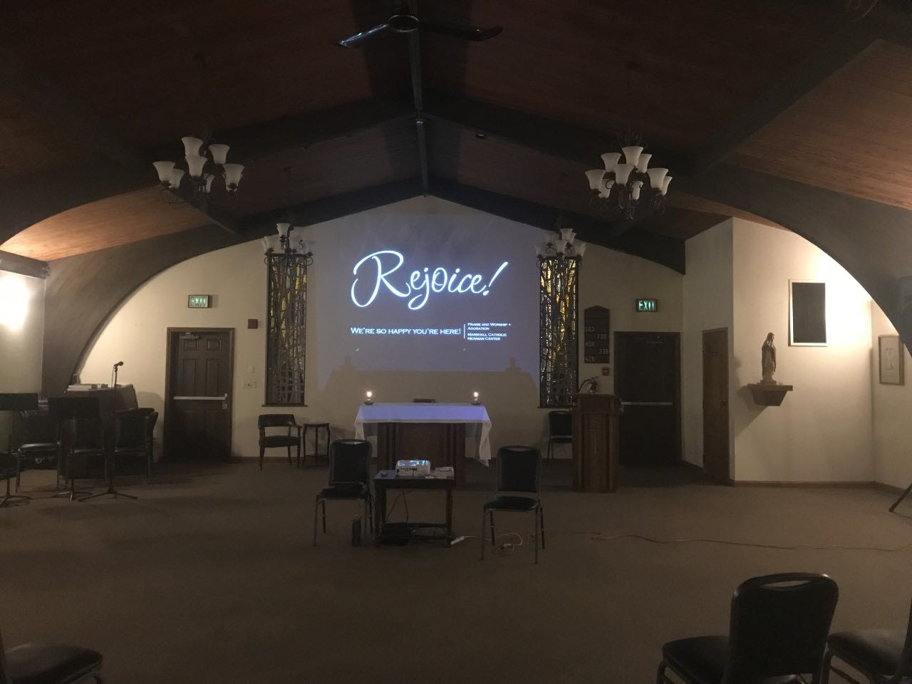 Rejoice praise and worship night kicks off at the Marshall Catholic Newman Center across from Corbly Hall.
