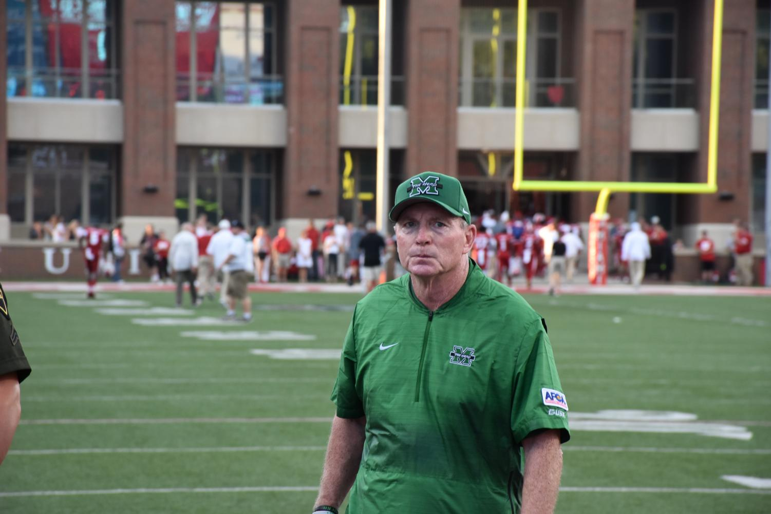 Marshall head football coach Doc Holliday leaves the field following warmups during the Thundering Herd's 2018 season opener at Miami (Ohio) on Sept. 1, 2018. Holliday announced three additions to the coaching staff on Monday.