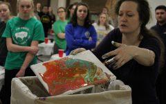 Students paint, socialize at DIY dirty pour event