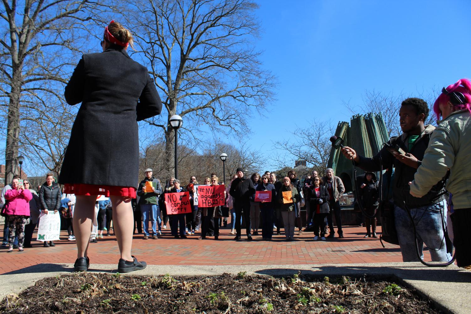 Marshall University faculty and students gather to protest Campus Carry Bill, Monday, Feb. 26 at Memorial Fountain.