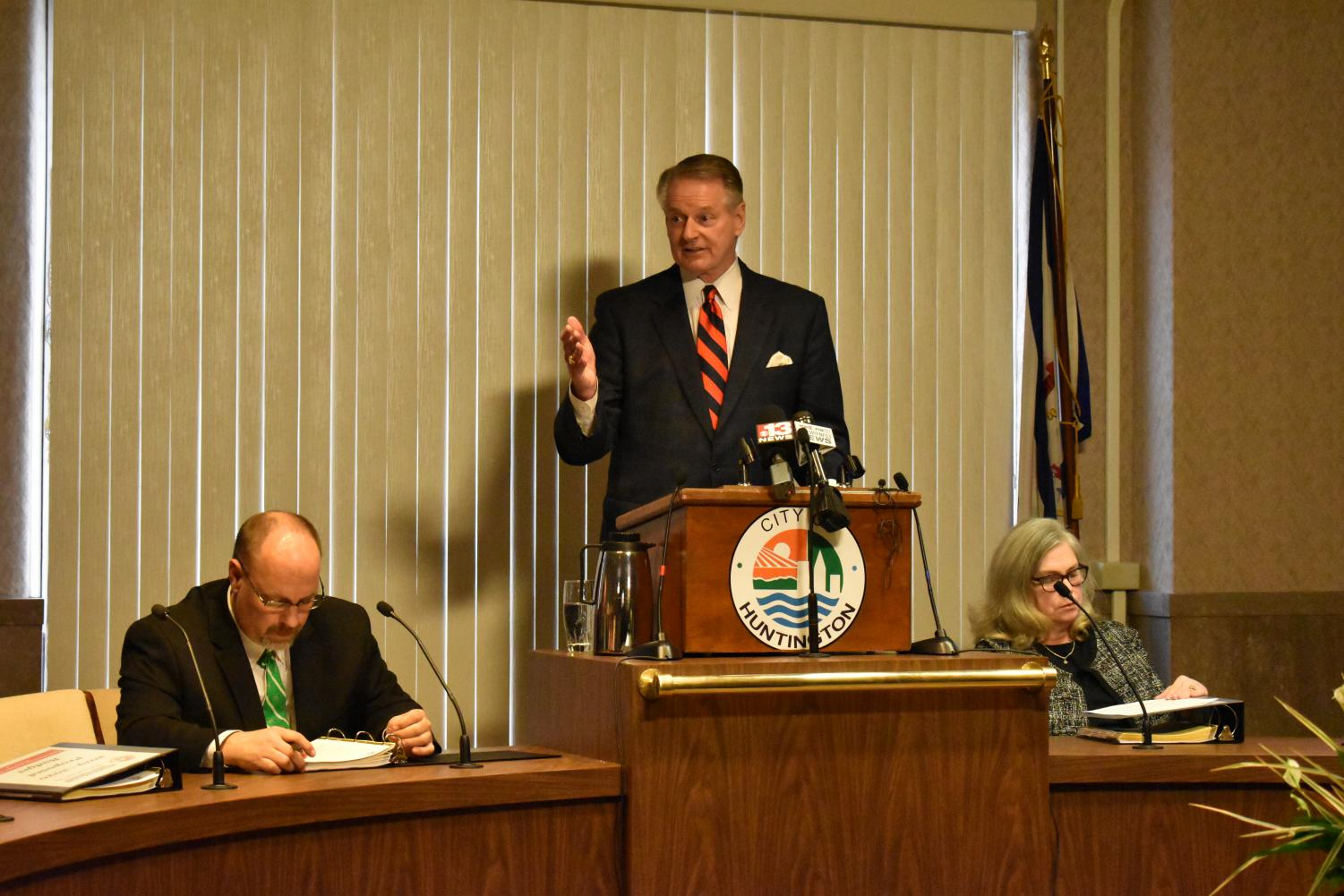 Huntington Mayor Steve Williams delivers the 2019 State of the City address, Friday in the City Council Chambers.