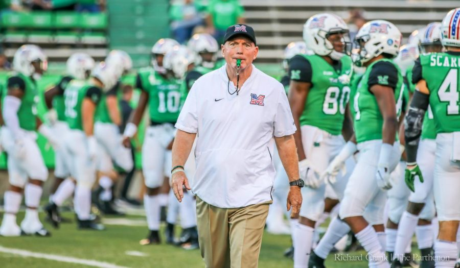 Marshall+head+coach+Doc+Holliday+looks+on+during+warmups+before+Marshall%27s+game+against+Middle+Tennessee+on+Oct.+5%2C+2018.