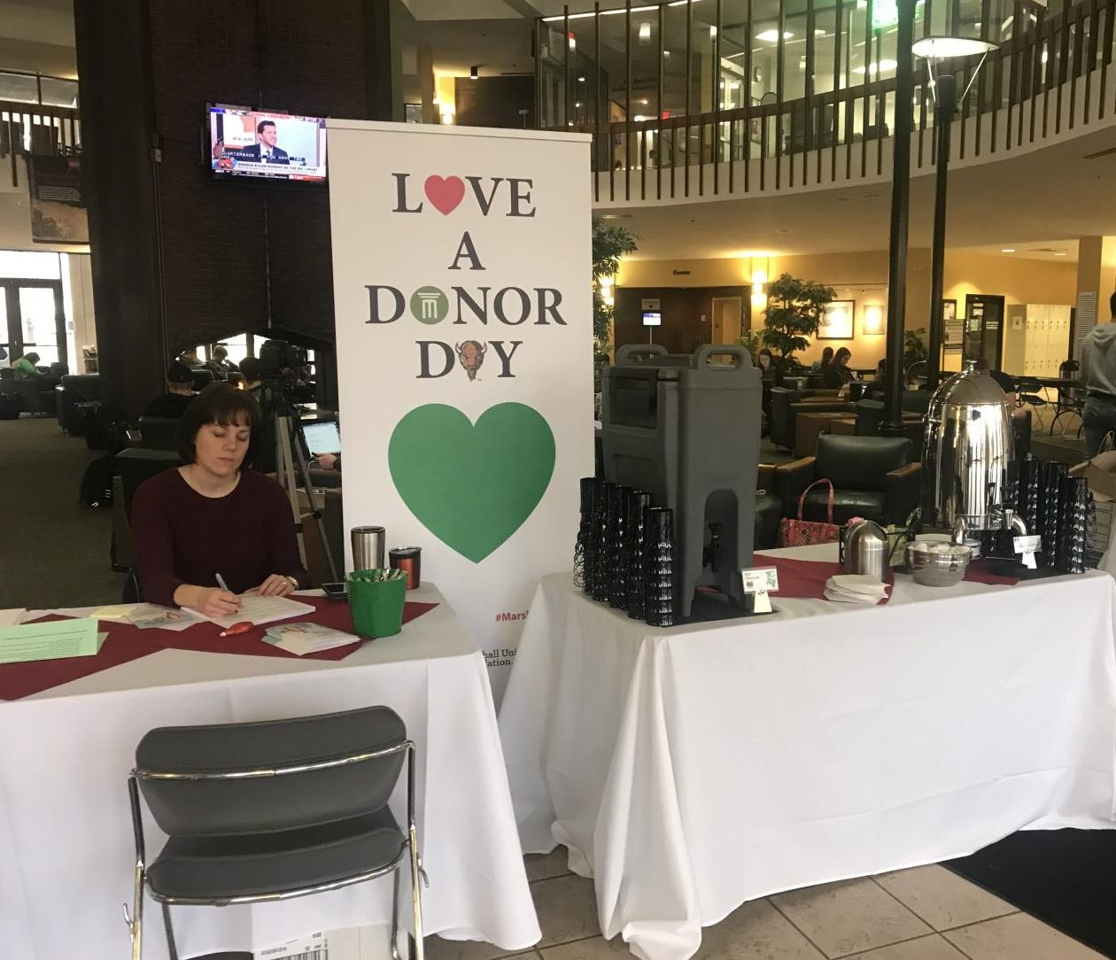 Thank A Donor Day booth set up in the Memorial Student Center.