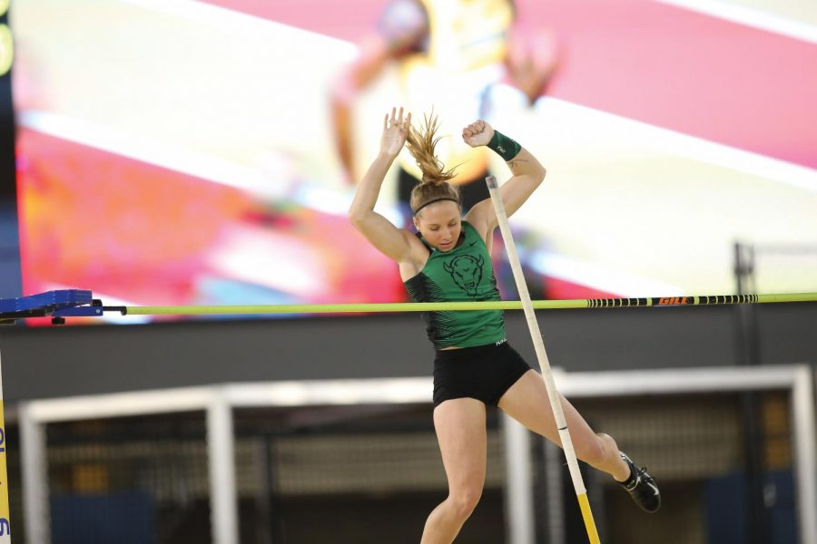 Lauren Zaglifa attempts to clear the bar during the pole vault at the C-USA Indoor Championships in Birmingham, Alabama.