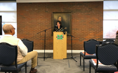 Cassandra Newby-Alexander, dean of the College of Liberal Arts, professor of history and director of the Joseph Jenkins Roberts Center for African Diaspora Studies at Norfolk State University, addresses the crowd during her Carter G. Woodson Lecture Thursday in Marshall University's Memorial Student Center.