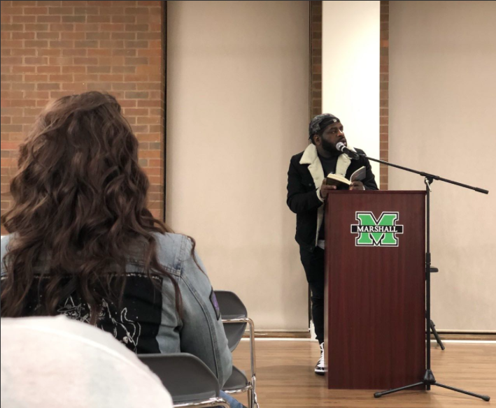 """Author Hanif Abdurraqib reads from his recently released book """"Go Ahead In The Rain: Notes to A Tribe Called Quest"""" during event in Marshall University's A. E. Stringer Visiting Writers Series."""