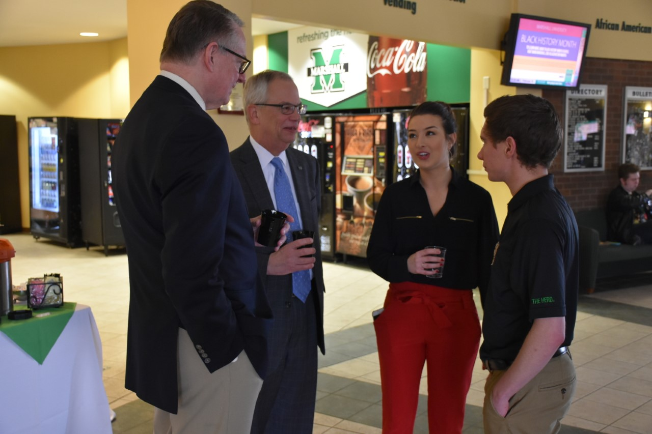 Huntington Mayor Steve Williams, Marshall University President Jerry Gilbert, Student Body Vice President Hannah Petracca and Student Body President Hunter Barclay discuss issues concerning the Marshall and Huntington communities at Coffee with the Mayor Jan. 19.