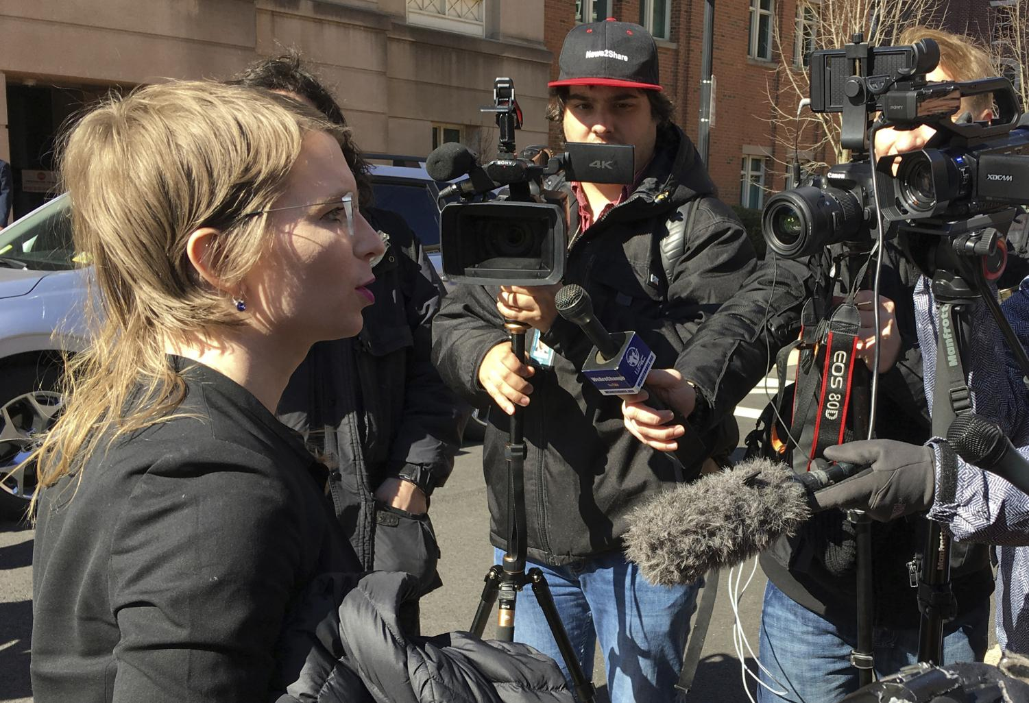 In this March 5 photo, Chelsea Manning addresses the media outside federal court in Alexandria, Virginia.