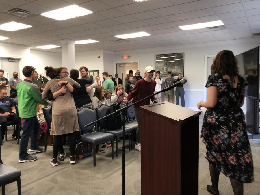 Members of the Rogner-Williams team and other students react to the announcement of Stephanie Rogner and Anna Williams  being elected as the next student body president and vice president of Marshall University.