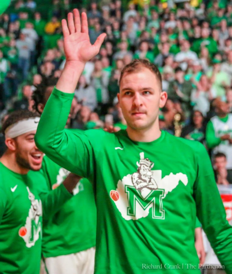 Marshall+guard+Jon+Elmore+%2833%29+is+introduced+during+starting+lineup+introductions+before+Marshall%27s+game+against+Florida+Atlantic+inside+the+Cam+Henderson+Center+on+March+9%2C+2019.