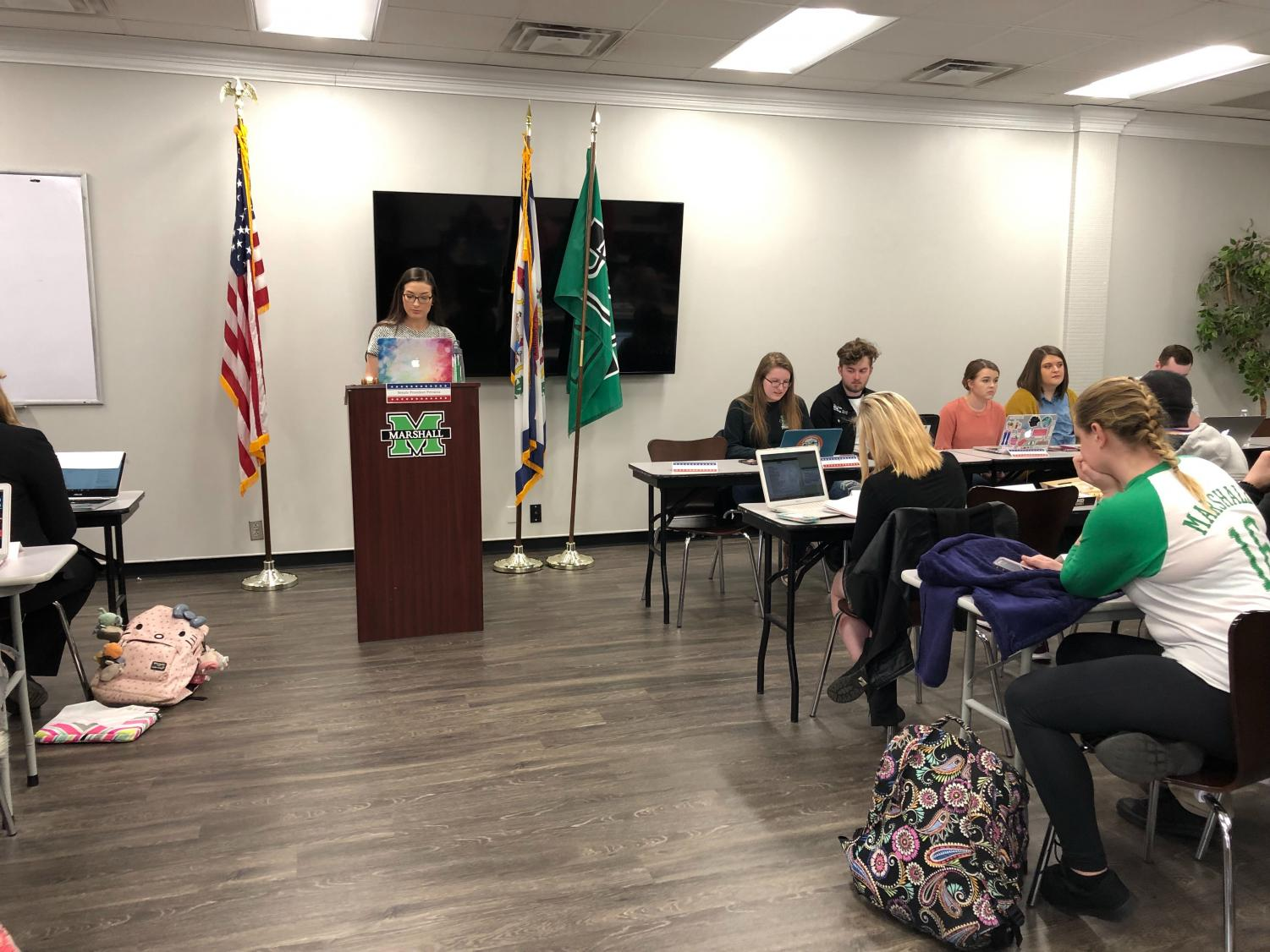 Parliamentarian Jo Tremmel calls roll-call during a student senate meeting Tuesday, March 12 in the Memorial Student Center.