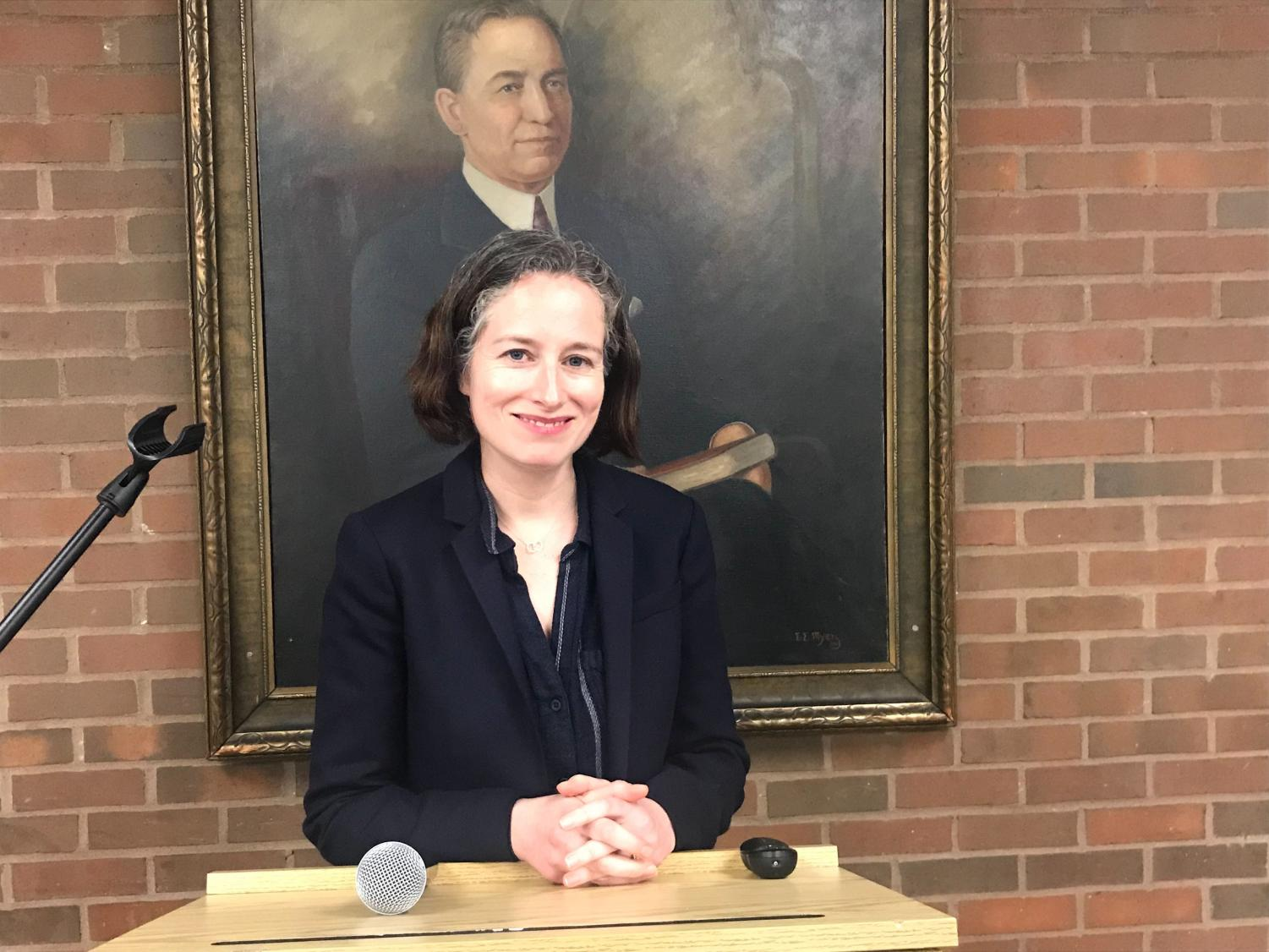 Author, journalist and book critic Ruth Franklin poses in the Shawkey Dining Room in the Memorial Student Center March 14.