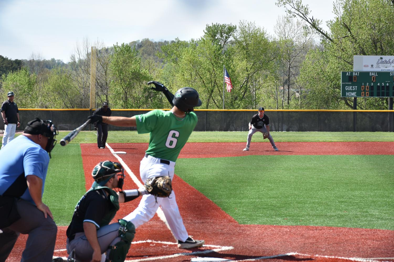 Tucker Linder (6) swings through a pitch in the second inning of Marshall's 4-3 win over Ohio, April 16, 2019.