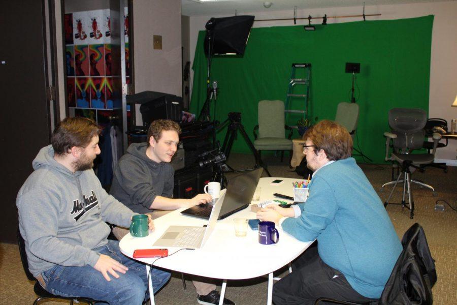 Coseri+members+Nathan+Thomas%2C+Cody+Lambert+and+Nate+Cesco+writing+a+sketch.
