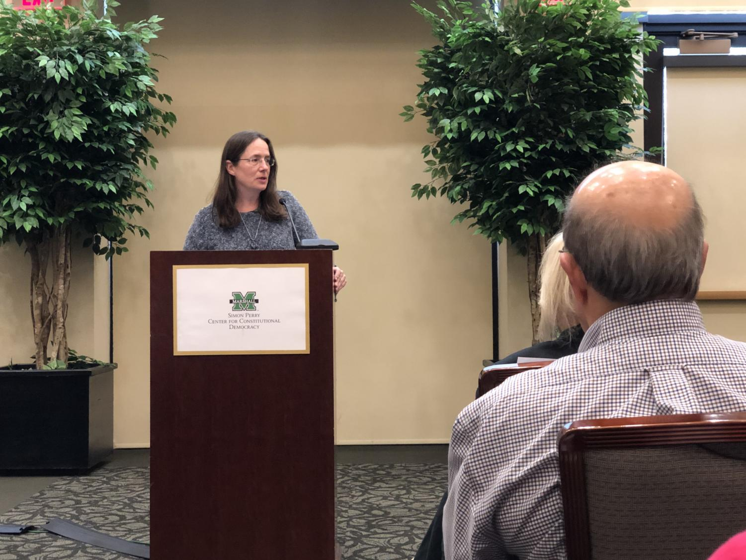 Heather Cox Richardson, a professor of history at Boston College and author, speaks about the ideologies of the South and the West, during an lecture in the Amicus Curiae Lecture Series on Constitutional Democracy Thursday in the Brad D. Smith Foundation Hall.