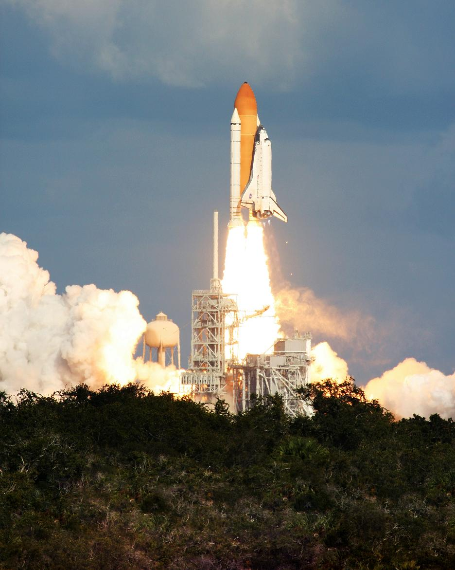 The Space Shuttle takes off from Cape Canaveral, Florida at NASA.
