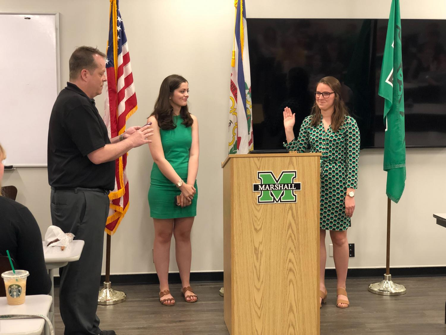 New Student Body President Stephanie Rogner and Vice President Anna Williams are sworn in at a Student Government Association meeting April 30.