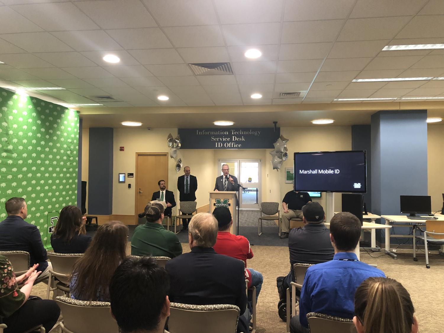 President Jerry Gilbert expressed his pride in Marshall for being one of only ten schools across the country that allows access to identification cards through mobile devices.