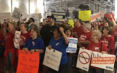 Educators protest 'sell-outs' in the Senate, out-of-state interests