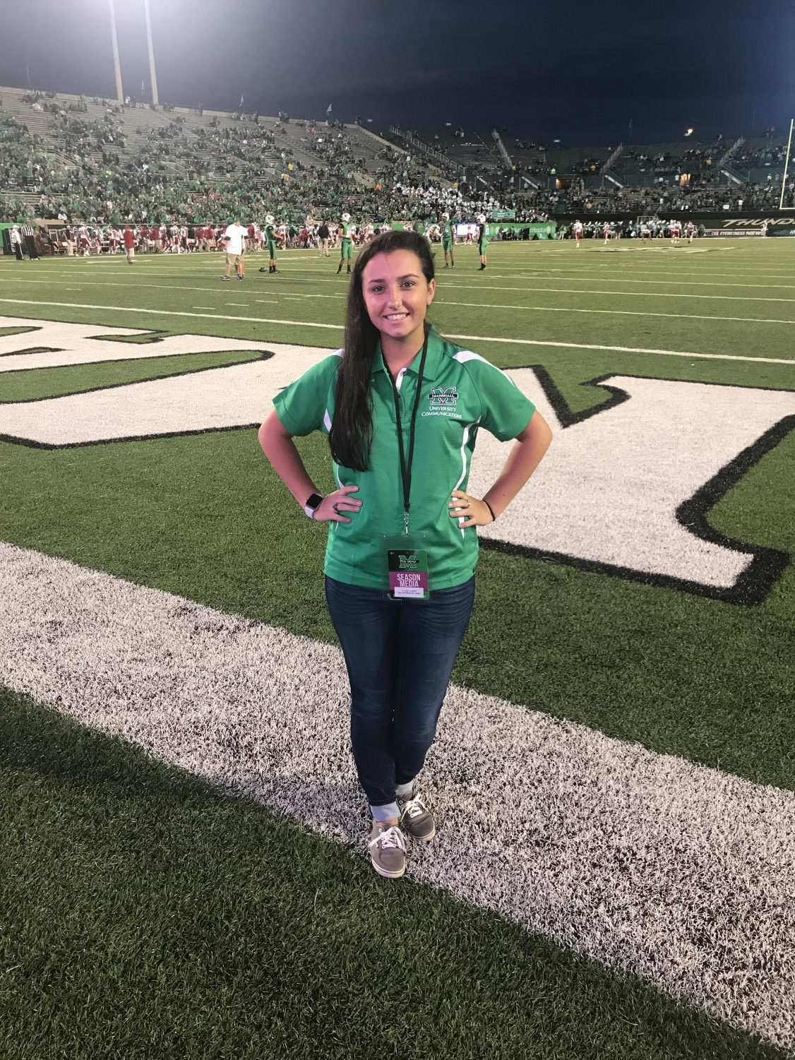 Sydney Shelton came to Marshall University two years ago excited for game day and now works in the press box.
