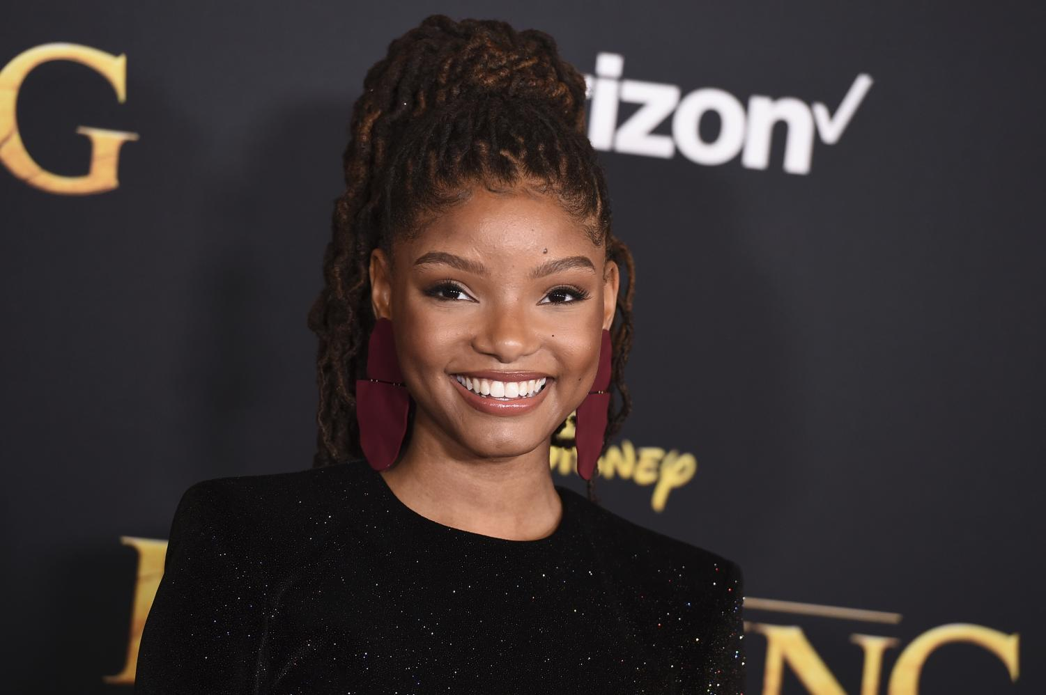 "Halle Bailey arrives at the world premiere of ""The Lion King"" on Tuesday, July 9, 2019, at the Dolby Theatre in Los Angeles."