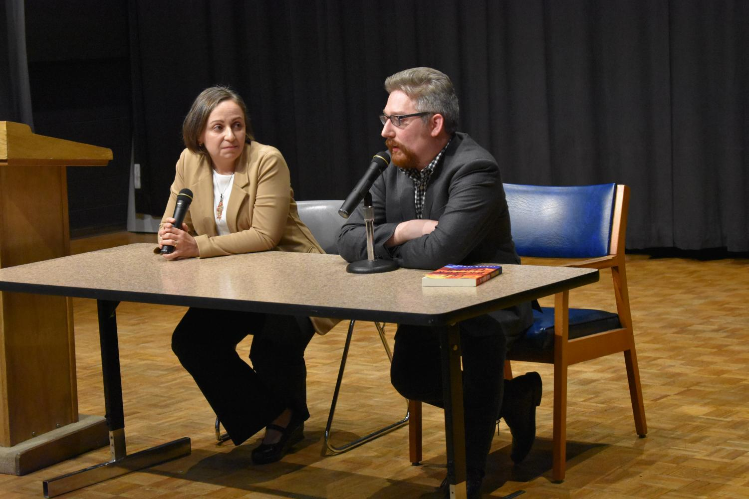 Authors and Marshall alumni Rajia Hassib and Jordan Farmer answer questions posed by the audience during the first event in the fall 2019 season of the A. E. Stringer Visiting Writers Series Thursday, Sept. 26.