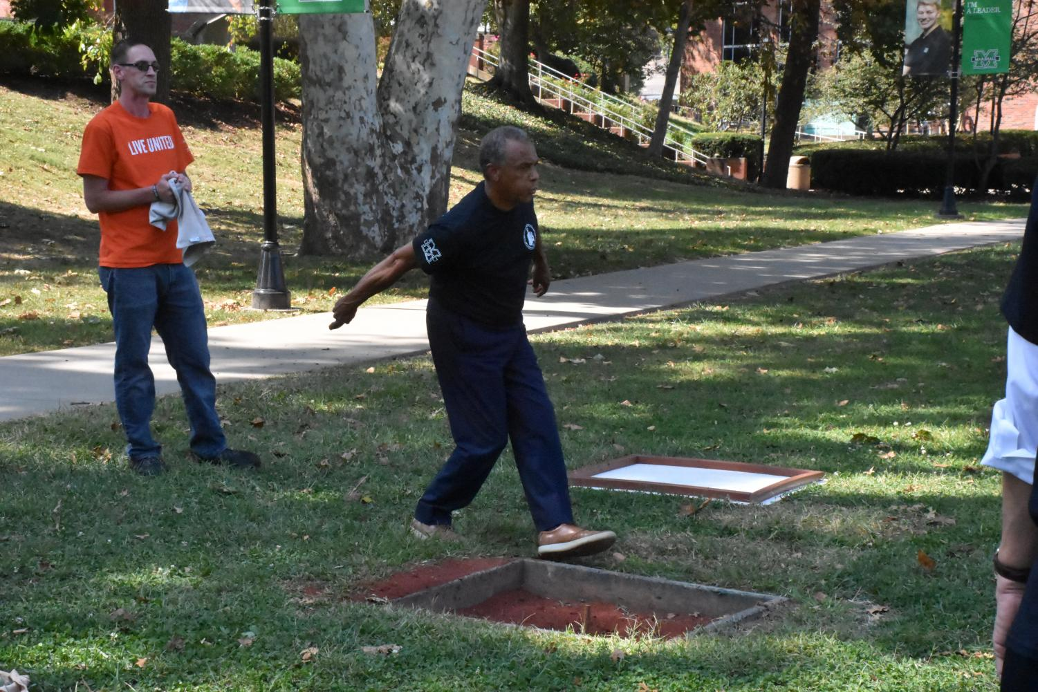 Interim Vice President for Student Affairs and Associate Vice President of Intercultural Affairs Maurice Cooley plays Quoits on campus Friday, Sept. 20.