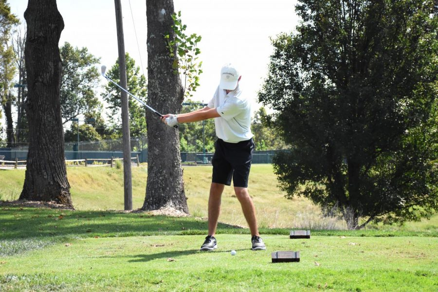 Tyler Jones tees off at the 50th Joe Feaganes Marshall Golf Invitational.