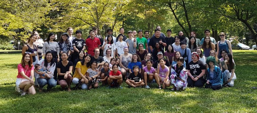 Members of Japan Club pose for photo during  Welcome Picnic, Sunday at Ritter Park.