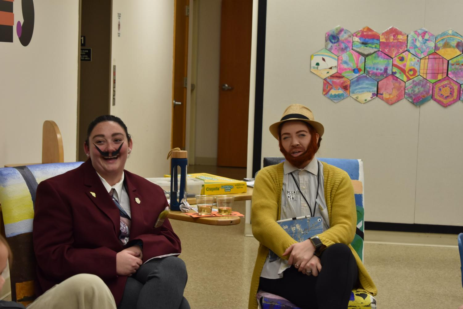 Marshall art education graduates Kaitlin Donnally and Charity Baker dressed as artists Salvador Dali and Vincent Van Gogh for the The Huntington Museum of Art's Night at the BOO-seum Oct. 22.