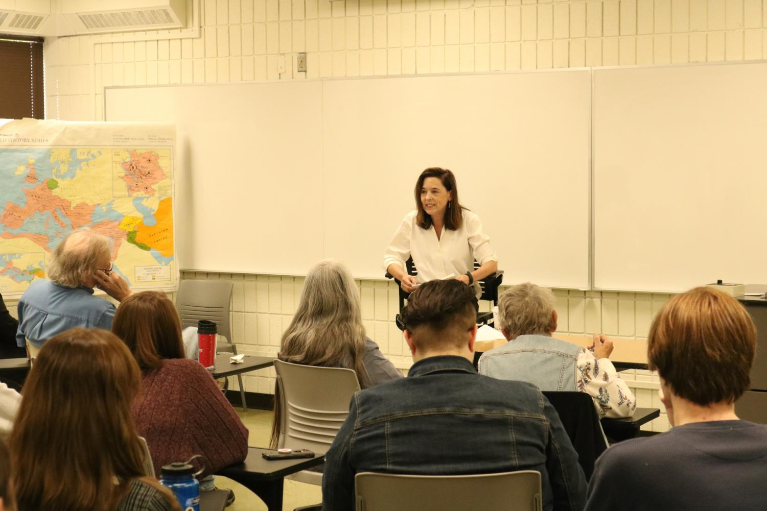 Sarah Covington, history professor at the graduate center at City University of New York and Queens, addresses a crowd of students and faculty members on Tuesday afternoon, about the importance of using folklore in historical study.