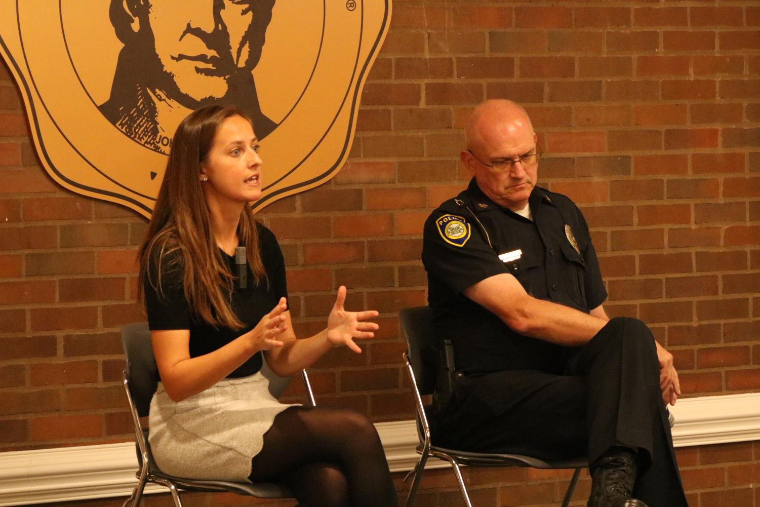 Kristina Anderson, founder of the Koshka Foundation for Safe Schools, and MUPD Chief Jim Terry discuss the ways in which Marshall University could improve campus safety at the 2019 Yeager Symposium Oct. 22.