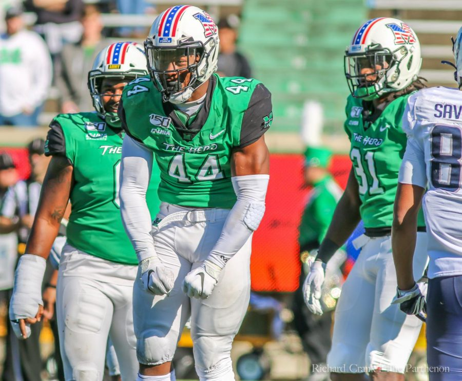 Darius+Hodge+celebrates+a+big+play+for+the+Herd+during+the+Marshall+vs.+Old+Dominion+football+game+on+Saturday%2C+Oct.+12.