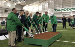 Left to right: Senior Associate for AECOM, Brian Pounds, Chairman James  Bailes, current Head Baseball Coach Jeff Waggoner, Marshall University President Jerry Gilbert, Jack Cook, Athletic Director Mike Hamrick,  Jeff Montgomery, Mayor Steve Williams and Rick Reed all participated in the groundbreaking ceremony.