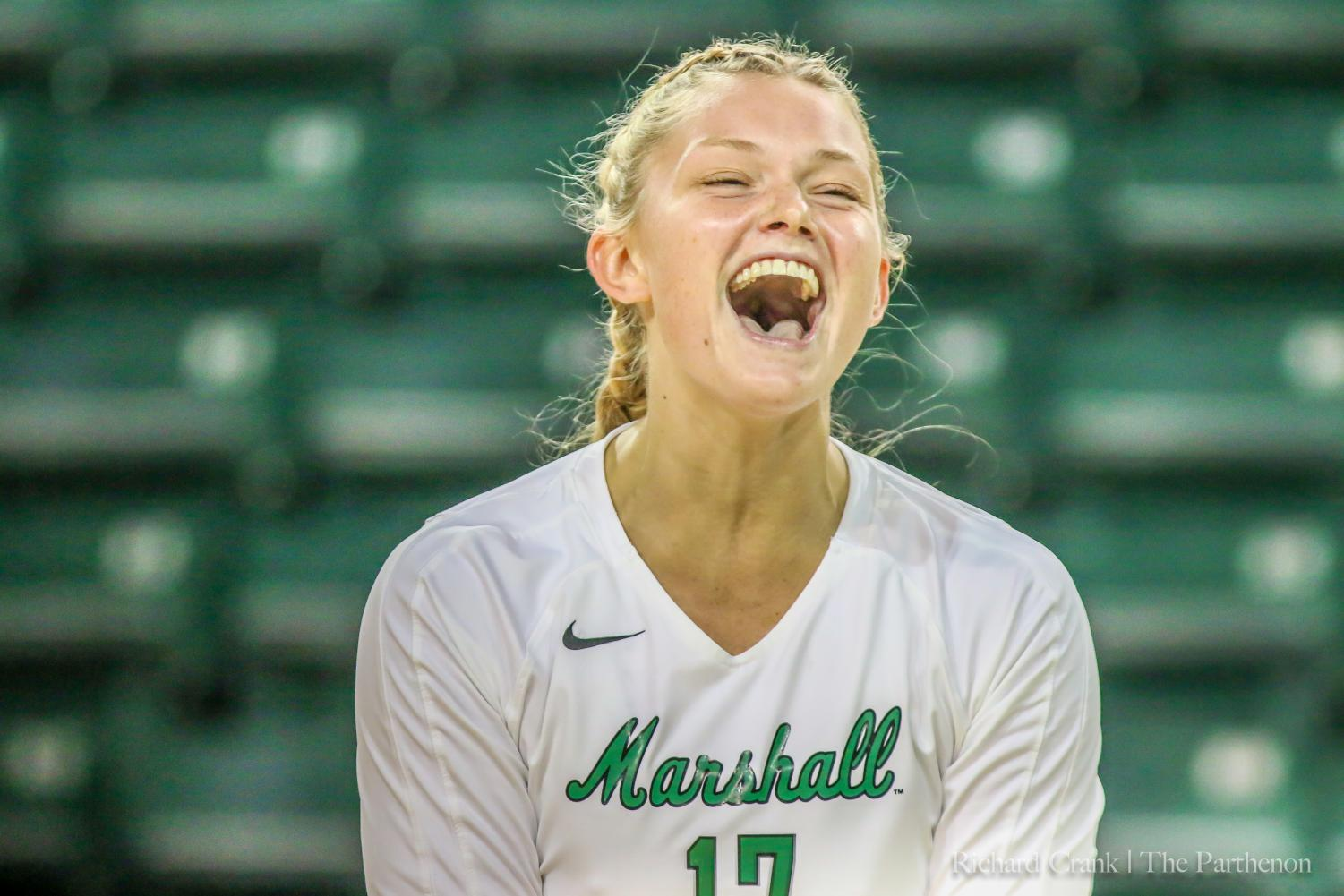 Ciara DeBell celebrates with a big smile.