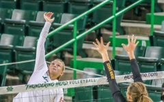 Ciara DeBell swings against Southern Miss in the 3-0 sweep on Sept. 27