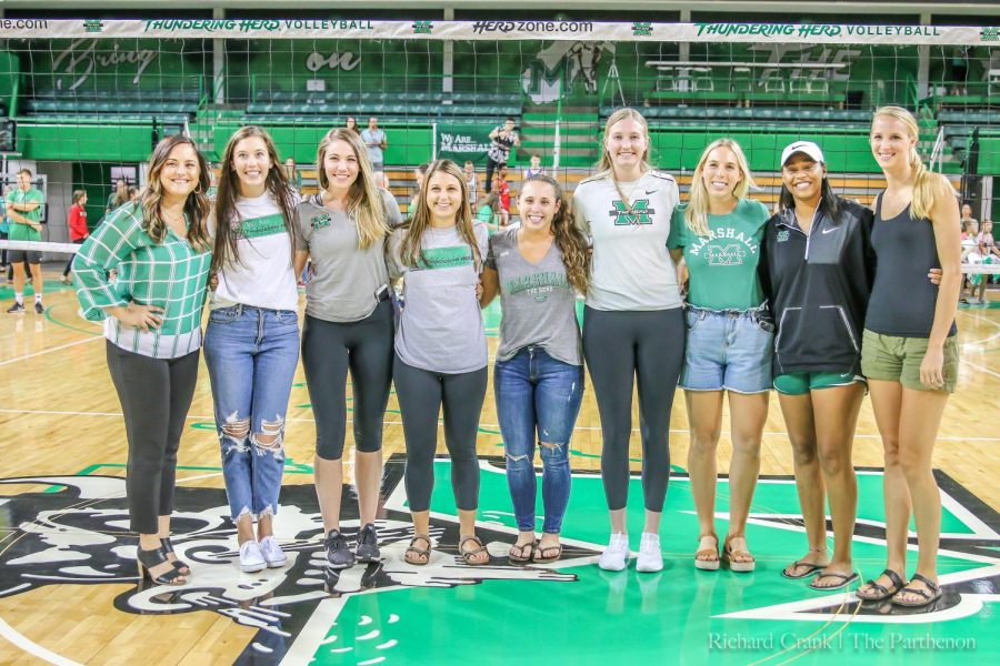 Previous+Marshall+volleyball+players+came+out+to+support+the+Thundering+Herd+