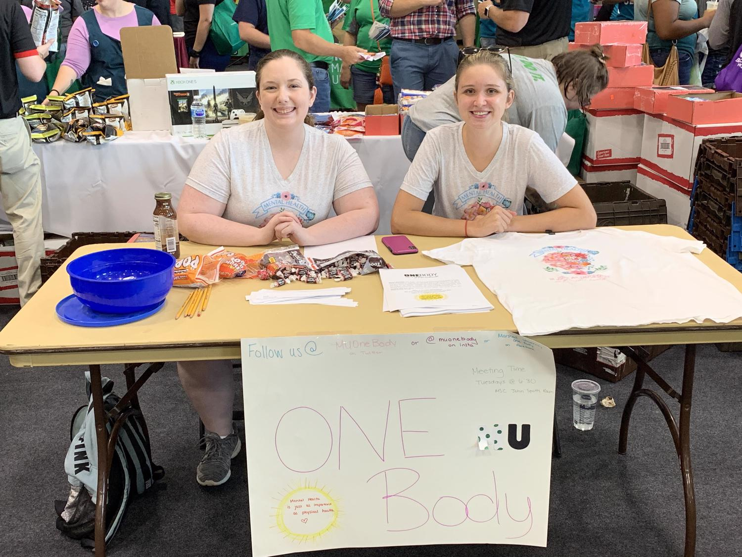 President Jennifer Wallbrown and vice president Courtney Carpenter represent One Body at Recfest 2019.